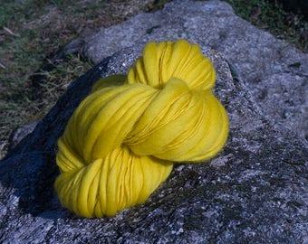 handspun thick/thin neon yellow merino wool