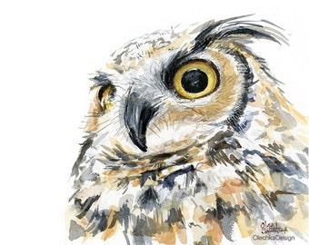 Great Horned Owl Watercolor Art Print Great Horned Owl Art Owl Decor Bird Painting, Bird of Prey Forest Creatures Owl Portrait