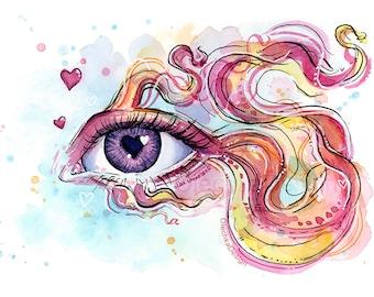Surreal Eye Betta Fish Doodle, Giclee Art Print, Animal Watercolor, Surreal Animals, Eye Painting, Hearts, Betta Print, Colorful Fish