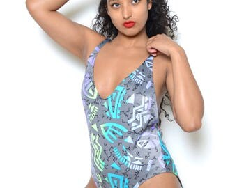 Vintage 80's Abstract Print One Piece Swimsuit Sz L