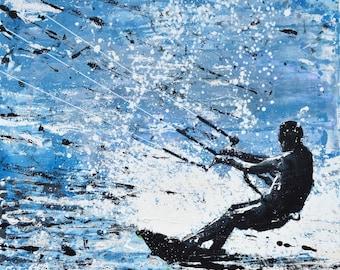 """KITESURFER SURF DECOR - surfer print - husband gift - boyfriend gift - """"Kitesurfer, ocean motion"""" print of painting by Melanie McDonald"""