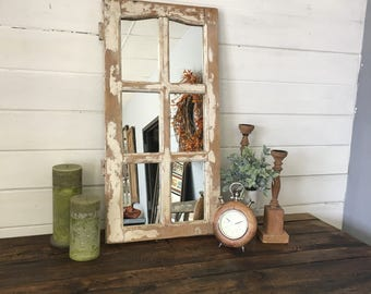 White Window Mirror, White Mirror, Window Mirror, Vanity Mirror, Bathroom Mirror, Wall Mirror, Home Decor Living Room Mirror, Bedroom Mirror