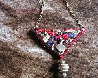 amulet banjara pendant red with 3 little bells-