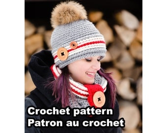 Alaska Kit. Crochet work sock hat and cowl pattern by Akroche tatuk. 4 sizes.  (english and french).