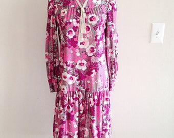 Vintage Drop Waist 1960s Mid Century Purple Floral Dress
