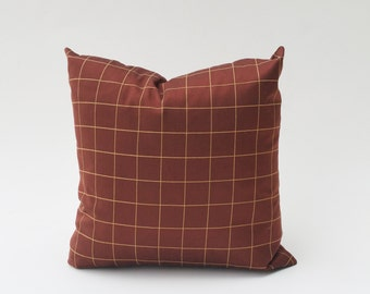 Copper Brown Windowpane Patterned Pillow Cover