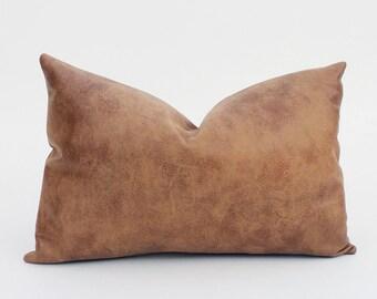 Decorative Faux Leather Pillows : Caramel Brown Faux Leather Decorative Pillow Cover