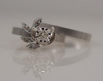 1950's Vintage Floral Diamond Wedding Band Engagement Ring Set 14k White Gold Texture Unique Antique