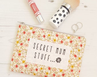 Secret Mum Stuff Mother's Day Purse Pencil Case Make Up Bag Beige Floral