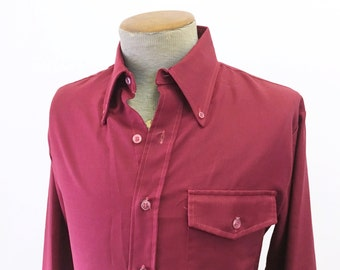 1970s Men's Disco Era JCPenney Shirt Vintage Burgundy Red Polyester & Cotton Blend Long Sleeve Shirt by JCPenney - Size MEDIUM