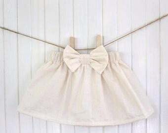 Cream / Baby Skirt / Girls Skirt / White / Bow / High waisted / Dress / Girl / Ruffle / Toddler / Beige / Newborn / Unbleached / Natural