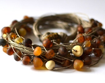 Natural Amber Necklace Raw Stone Summer Trend Rustic Look Grey Yellow Brown Gift ideas