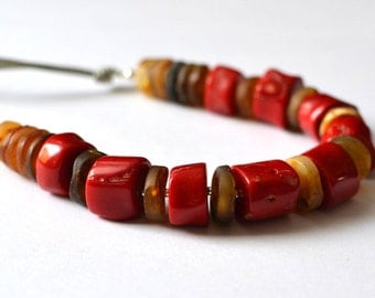 Red Coral Amber Necklace Amber Coral Gemstone Jewelry Natural Stones Sun Set Beach Inspired