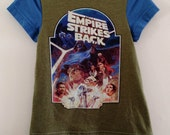 "Girls Size 3T ""Star Wars Empire Strikes Back"" T-shirt Dress - Men's t-shirt refashioned into 1-of-a-kind girls A-line dress"