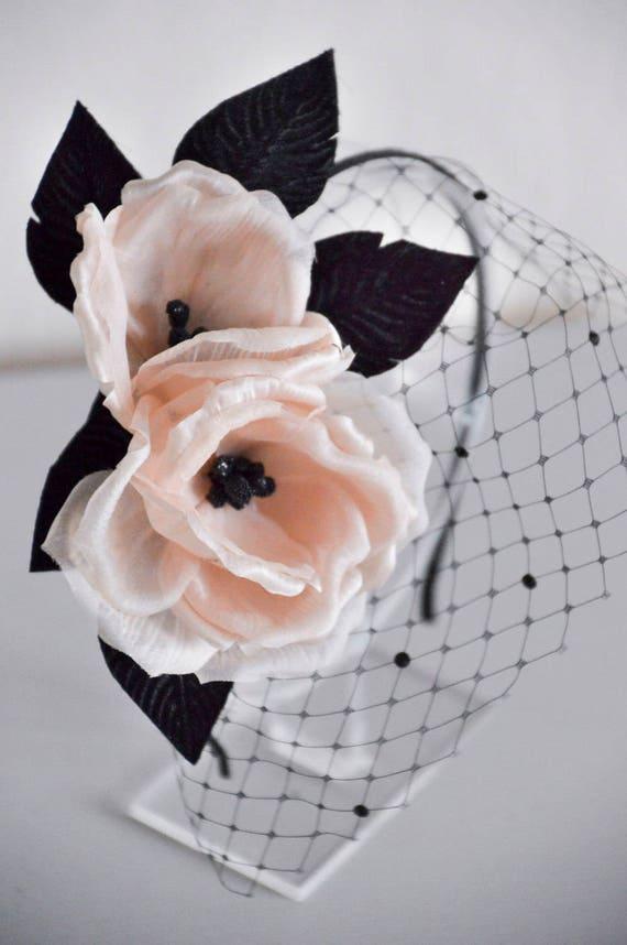 Black Fascinator -  Floral Headpiece  - Blush Silk Flowers -