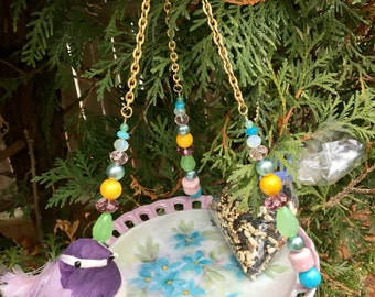 Repurposed Dish Bird Feeder, Garden Yard Decor, Recycled Dish Art, Hanging Planter, Candle Holder, Ceramic Plate Craft, Upcycled Vintage