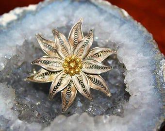 Vintage Silver 800 Gold Gilt Filigree Fabulous Flower Brooch BU11
