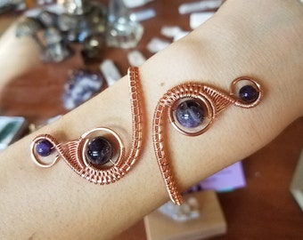 RESERVED: Amethyst Copper Double Spiral Wire Weave Bracelet