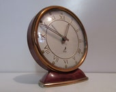 JAZ Aubergine Purple Vintage French Art Deco Alarm Clock in Good Condition - Functions Well - SWEET DESIGN - French Chic for your bedroom