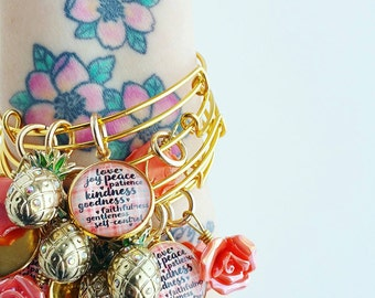 gold stackable bangle bracelet fruits of the spirit pineapple plaid jewlery for her gift