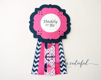 Pink Nautical Baby Shower Corsage Daddy or Mommy To Be Pin or Anchor Shower Favors
