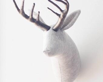 Faux taxidermy grey and pewter deer head decoration taxidermy head animal head
