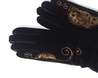 Black & Gold Leather Gloves- Hand painted - SIZE 7.5- ready to ship - autumn - winter - gold - black - leather gloves - leather palm gloves