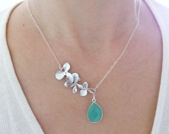 Silver Lariat Necklace, Aqua Chalcedony Necklace, Gemstone Bridesmaid Necklace, Orchid Flower Necklace, Stone Necklace, Boho Jewelry