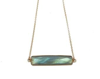 Labradorite Necklace, Labradorite Bar Necklace, Bar Necklace, Labradorite Jewelry, Labradorite Pendant, Stone Necklace, Everyday Necklace