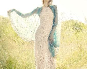 MADE TO ORDER crochet dress, boho wedding dress, white maxi, long white dress, lace beach dress bohemian bride backless dress halter lace up