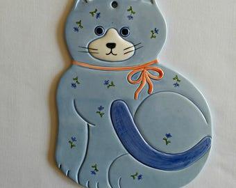 Vintage Otagiri Blue Cat Potholder Hotpad Made in Japan Cat Kitchen Decor - Vintage Blue Cat Kitchenware - Otagiri Cat