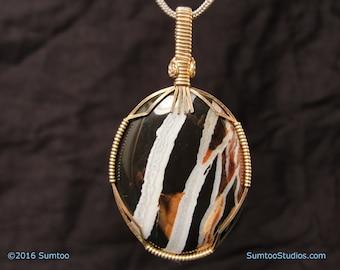 Zebra Agate in Gold-Filled wire