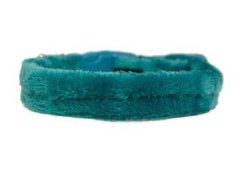 "Lush Plush Fleece 3/4"" or 1"" Dog Collar Small-XL Breed Colonial Teal Blue Dog Collar"