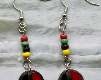 Peace Sign Earings, Rastafari, black, red, yellow, green, dangling Earrings