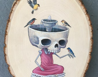 Bird Bath OOAK acrylic painting on wood round by Thomas Ascott
