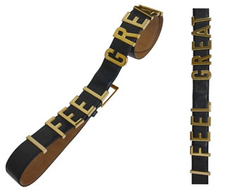 """MOSCHINO Redwall 1980s Vintage """"I Feel Great"""" Leather Belt Dark Blue Gold-Tone Signature Letters XS Small Medium"""