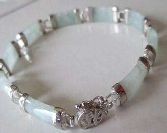 Vintage Pale Green Jade Jadeite 925 Sterling Silver Jade and Silver Link Bracelet, Chinese Good Fortune Bracelet, Mother's Day Bracelet