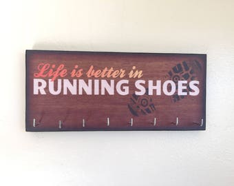 """Race Medal Holder /  Race Medal Hanger. """"Life is Better in Running Shoes"""" Wood Wall Mounted Wood Organizer. CUSTOMIZATION Available"""