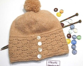 Knit beige beanie - slouchy hat - wool beanie - women hat - winter hat - hat with buttons - gift for women - lace beanie - chic hat