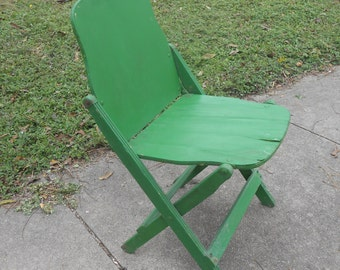 Vintage Folding Wood Chair Collapsible Extra Seating Shabby Chic Cottage Decor Boho Green Chair
