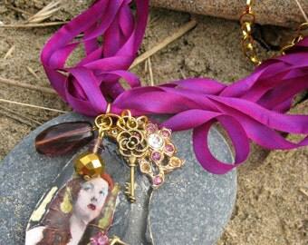 Mermaid's Grotto OOAK Wearable Art Assemblage Gypsy Queen Silk Ribbon & Shell Pendant Necklace