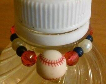 Red, White and Blue Baseballe Bottle Topper