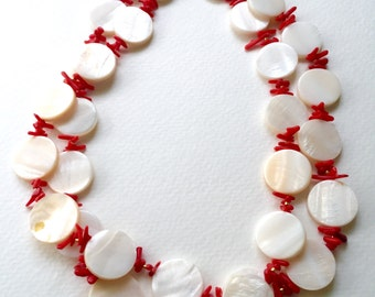Creamy White MOP and Coral Necklace by KarenWhalenDesigns