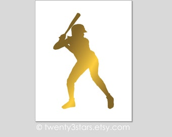Softball Real Gold or Silver Foil Art Print, Unframed, Softball Player Art, silver foil Name Art, Women's Batter Pitcher Gift