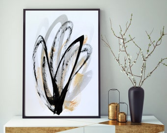 Black and White Art Black and White Painting Original Abstract Painting Gold Art Black Abstract Art Gold Painting Modern Art Minimalist Art