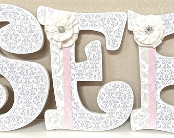 Custom Nursery Letters- Baby Girl Nursery Decor-Pink and Grey- Personalized Name- Wooden Hanging Letters -Wall Letters- The Rugged Pearl