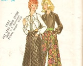 Vintage 70's Butterick Pattern 6451 Boho Palazzo Pants or Maxi & Blouse w Scarf Sz 12 Uncut FF Fab Hippie Separates Sewing Patterns Supplies