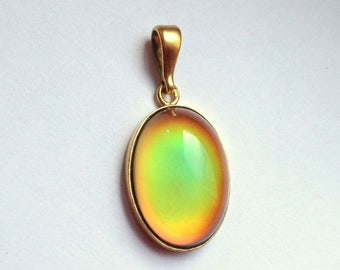 Mood Pendant 24k gold plated Sterling Silver 925 25x18 mm stone color changing