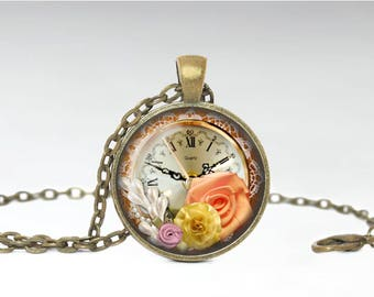 Antique Clock Pendant, Steampunk Floral Clock Jewelry, Floral Clock Necklace [A12]