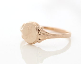 Rose gold signet ring • Personalized initial ring • Custom rose gold ring • Monogram ring